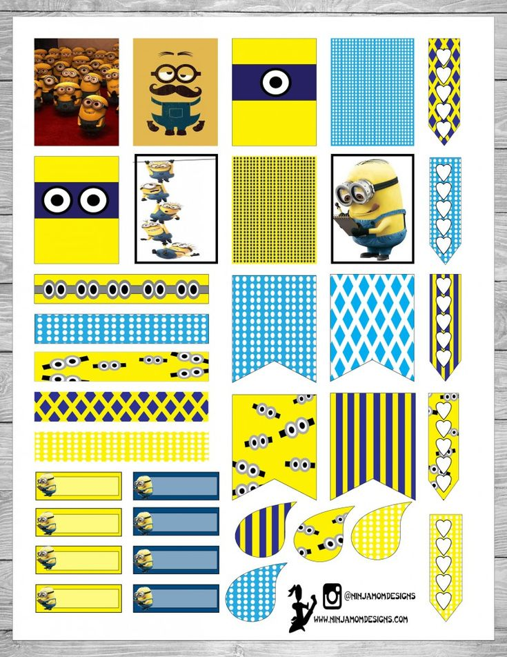 FREE Minions Inspired Planner Stickers Printable by Ninja Mom Designs