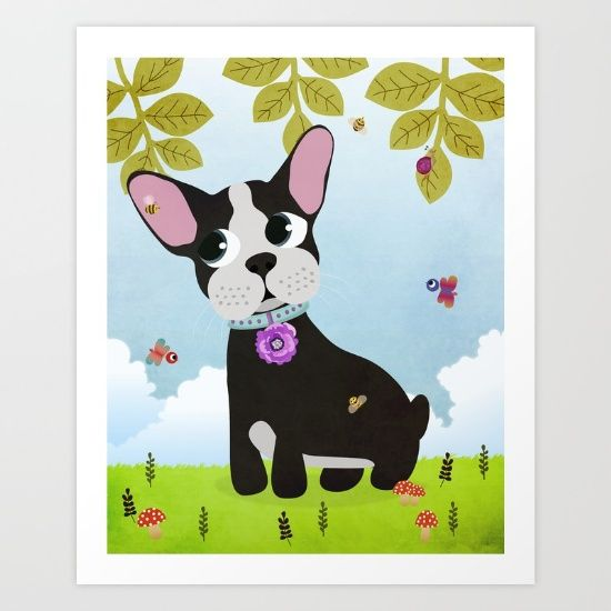 Cute French Bulldog Print now available on my Society6 Store