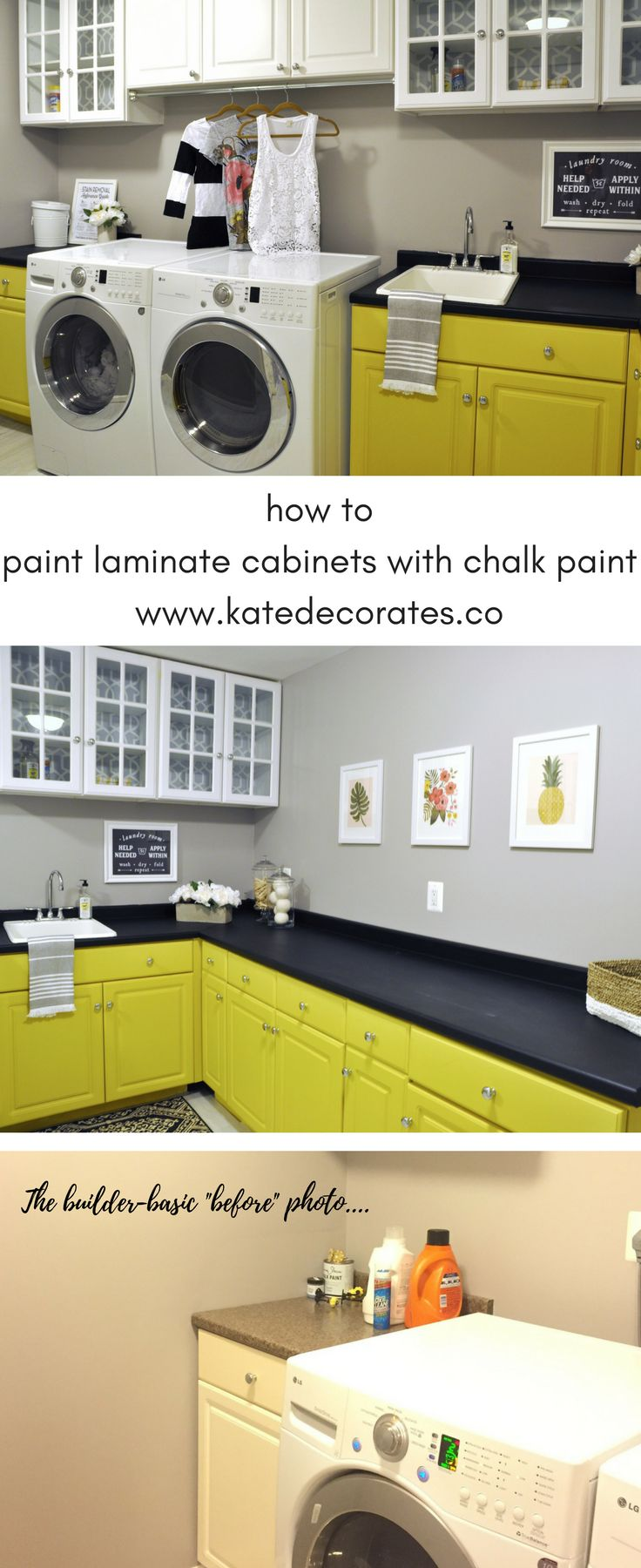 Love these super easy instructions on how to paint boring old laminate cabinets with chalk paint!