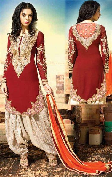 picture of vivacious brick red designer patiala salwar