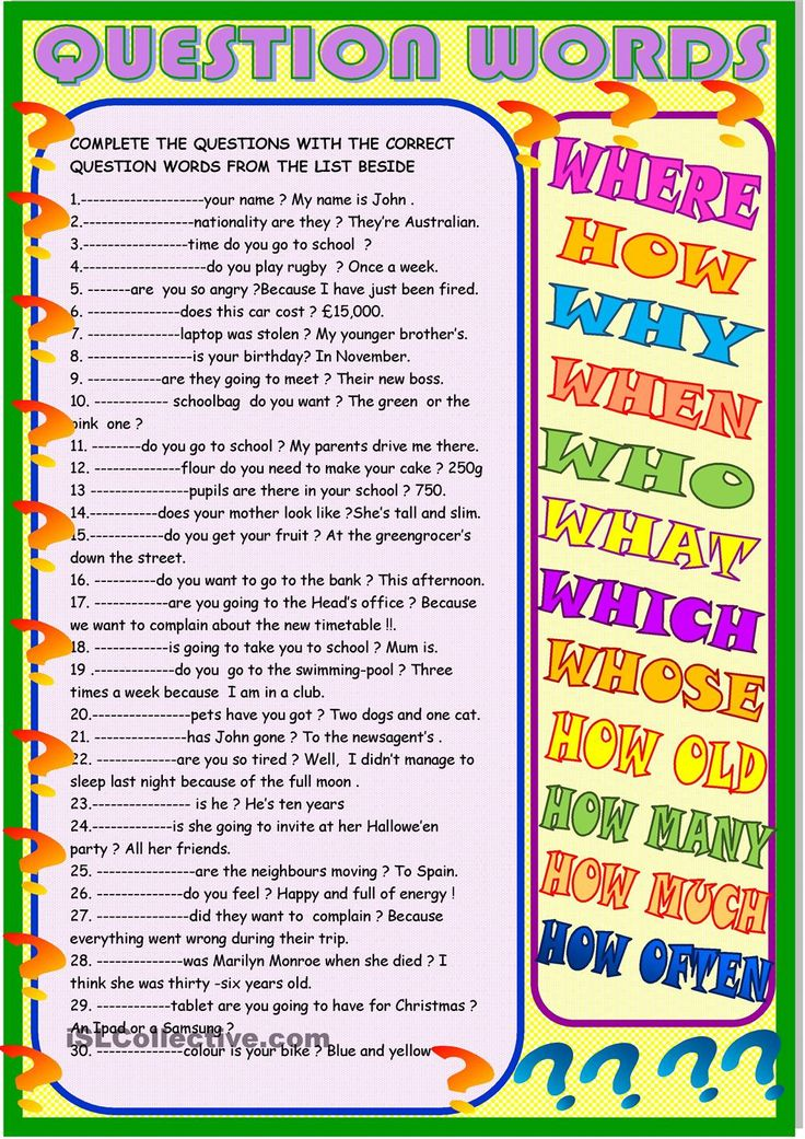 Question words : new practice : ESL worksheets of the day ...