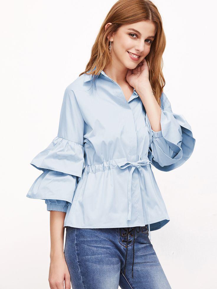 Shop Layered Fluted Sleeve Drawstring Waist Blouse online. SheIn offers Layered Fluted Sleeve Drawstring Waist Blouse & more to fit your fashionable needs.