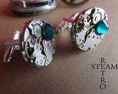Uomini Emerald Steampunk Gemelli - Gemelli Steampunk Guarda il movimento Gemelli : Bijoux per uomo di steamretro-italia