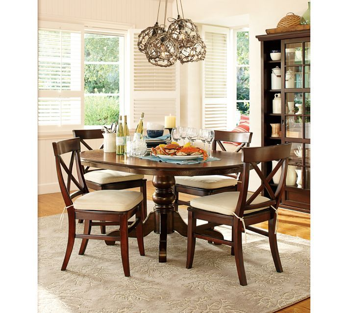 pottery barn aaron wood seat chair living dining room