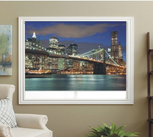 BLACKOUT PHOTO ROLLER BLINDS, PICTURE BLINDS BROOKLYN BRIDGE BY NIGHT