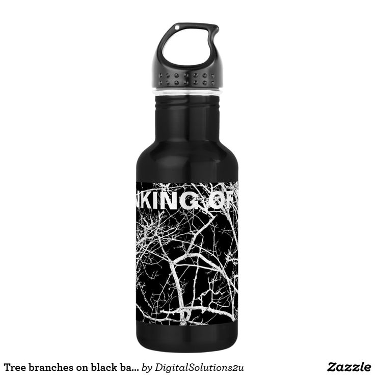 Tree branches on black background stainless steel water bottle