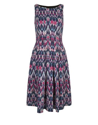 Guaranteed to get you noticed for all the right reasons, our Mollie ikat print dress is fashioned in a feminine fit and flare silhouette. Splashed with pink ...