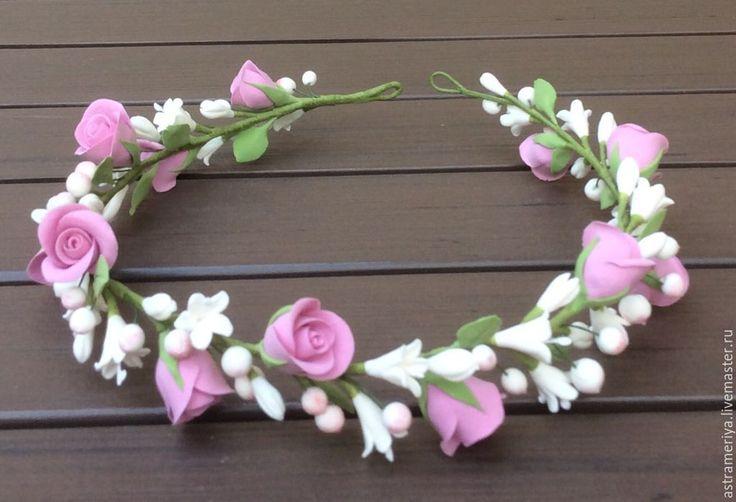 Купить Венок с розами из полимерной глины. - свадебное украшение, для прически невесты, для принцессы, для девочки