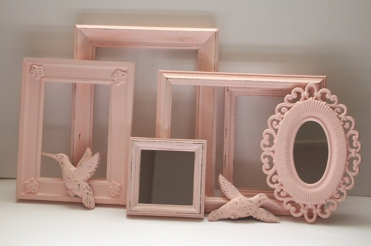 Picture Frames Birds and Mirrors Vintage Painted Pale Rose Pink Shabby Chic Cottage French Baby Nursery Child Home Decor Wall Gallery. $62.00, via Etsy.