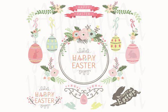 Floral Easter Design Elements by YenzArtHaut on @creativemarket