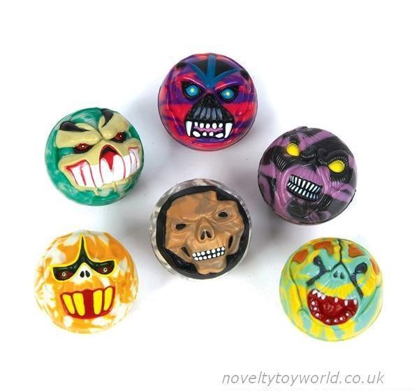 novelty halloween balls featuring various scary monster faces fearsome novelty balls measuring in diameter wholesale bulk buy from 432 units - Halloween Novelties Wholesale