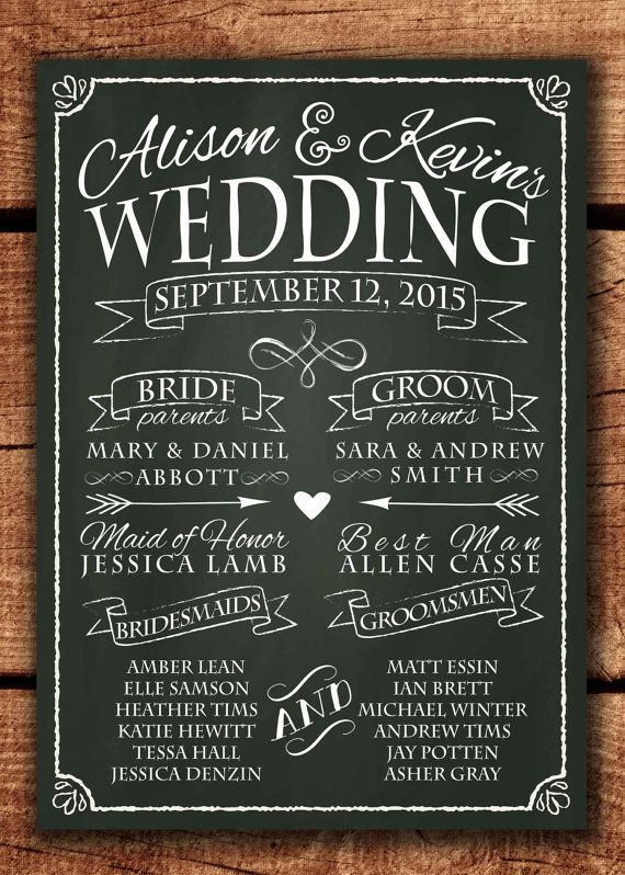 Hey, I found this really awesome Etsy listing at https://www.etsy.com/listing/227456488/chalkboard-wedding-program-sign