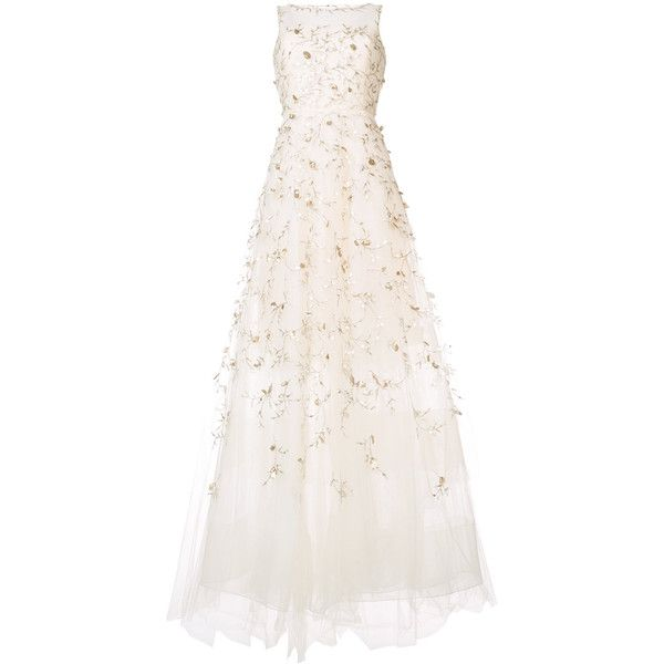 Oscar de la Renta embroidered flared gown ($9,690) ❤ liked on Polyvore featuring dresses, gowns, white, embroidered evening dress, white gown, nylon gowns, white flared dress and white dress