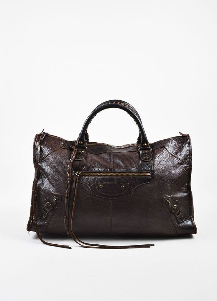 Balenciaga Brown Distressed Leather Classic Studded Classic Work Tote – Luxury Garage Sale