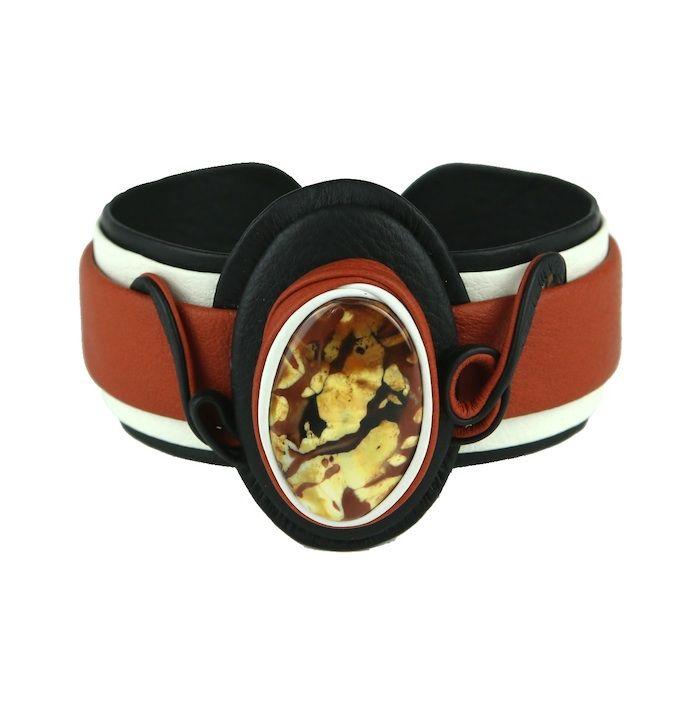 Handcrafted Leather Bracelet with Agate Gemstone #bangle #bracelet #jewelry #SilkRoadEXPO