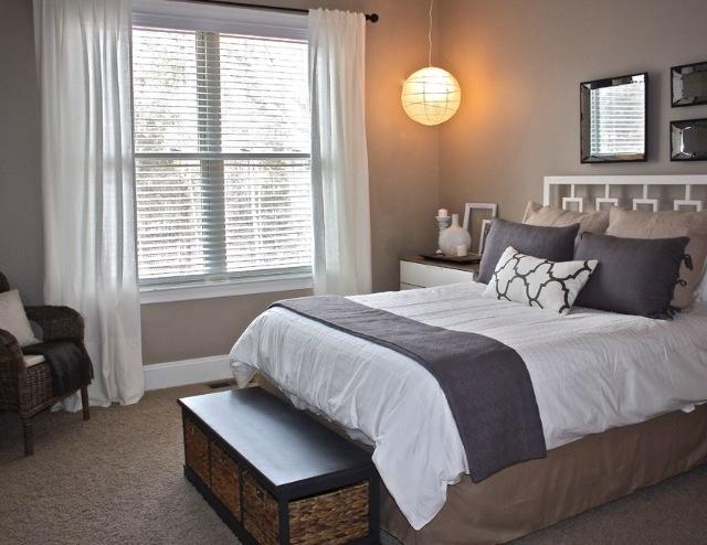 White Window Treatments Trim Bedding W Dark Curtain Rod Purple Accents