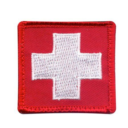 "White Cross Medic Patch/First Aid Symbol w/Hook Backing, 1 7/8"" x 1 7/8"" - Walmart.com"