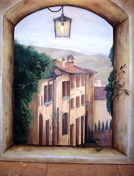 Mural on canvas over plaster, sanded and aged.  Tracy Wade Design
