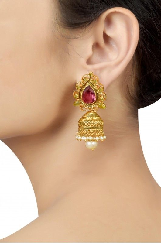 Silver Gold Plated Traditional Pearl Colored Glass Jhumka