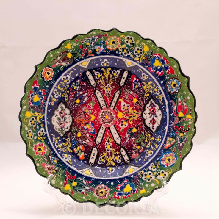 Large Plate - Green & Blue & Red - DECORIA HOME & GIFT