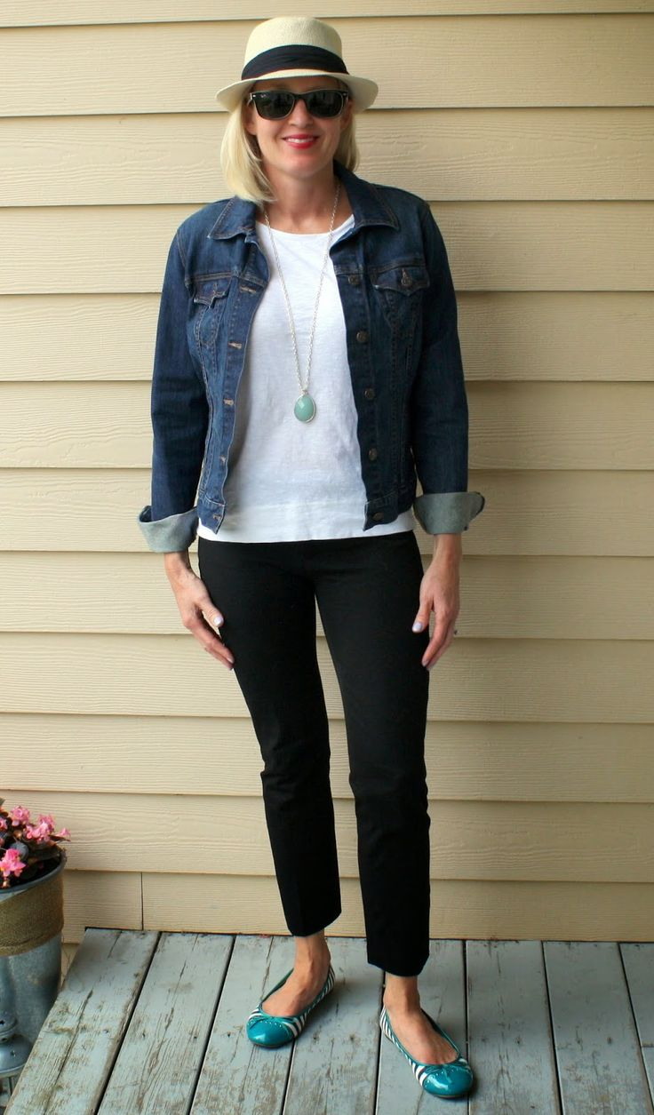 Doused in Pink. Denim jacket, white shirt, teal necklace ...