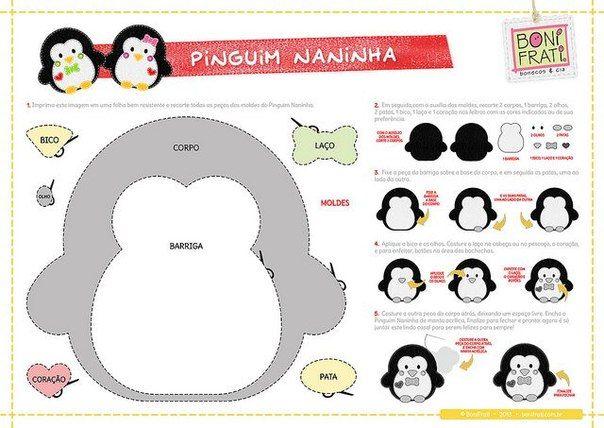 Patrones de pinguinos navideños con fieltro02