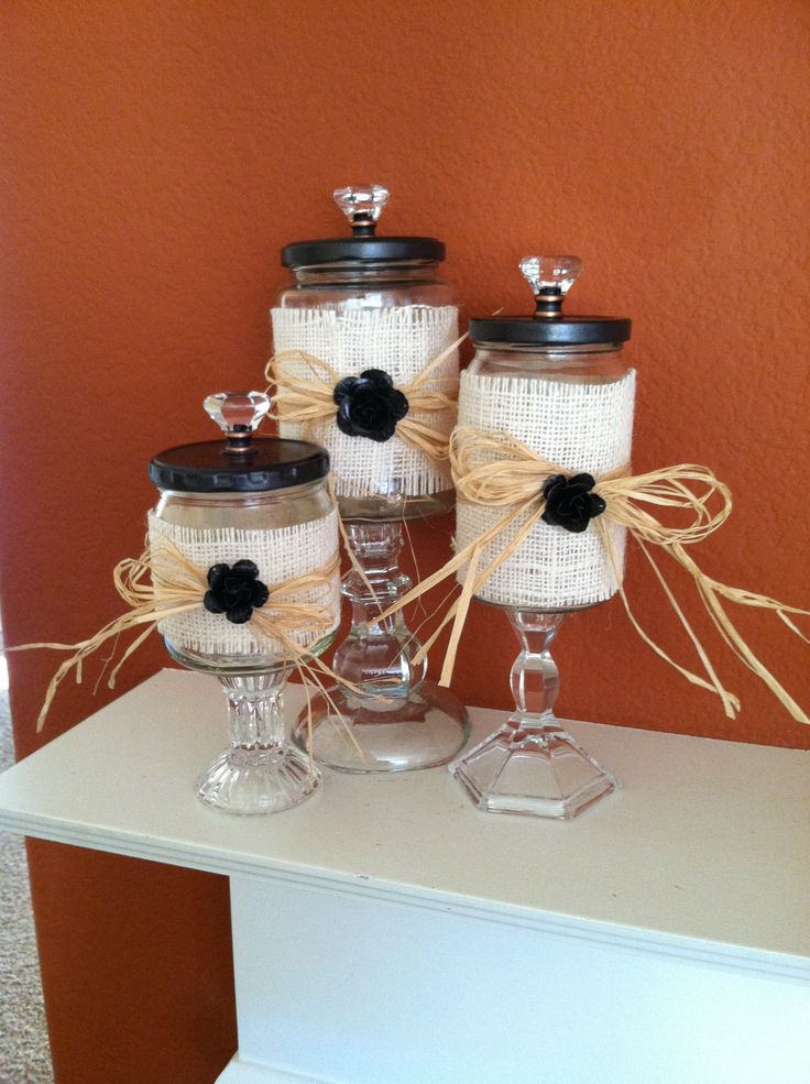 Recycled jars and glass candlesticks