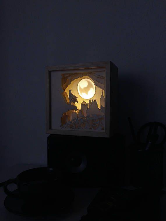 Batman Paper Cut Light Box Shadow Box Wood Casing