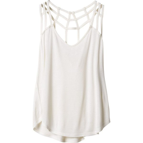 RVCA Women's  Tanga Tank Top ($39) ❤ liked on Polyvore featuring tops, white, jersey tops, jersey tank top, white v neck tank top, rvca tops and strappy tank