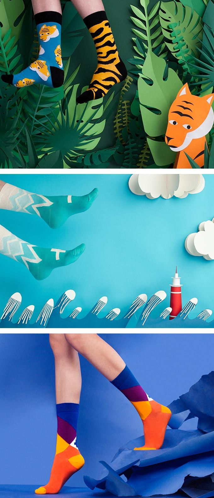 Sammy Icon's Giant Socks Invade Colorful Cut-Paper Landscapes