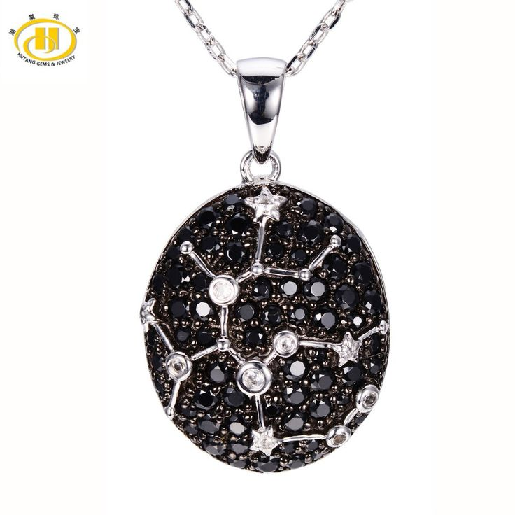 Hutang Sagittarius Sign Black Spinel & White Topaz Pendant Solid 925 Sterling Silver Necklace Constellation Birthday Gift