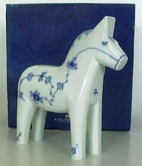 Royal Copenhagen Dala horse...this horse was made in honor of the bridge connecting Sweden and Denmark in 2000