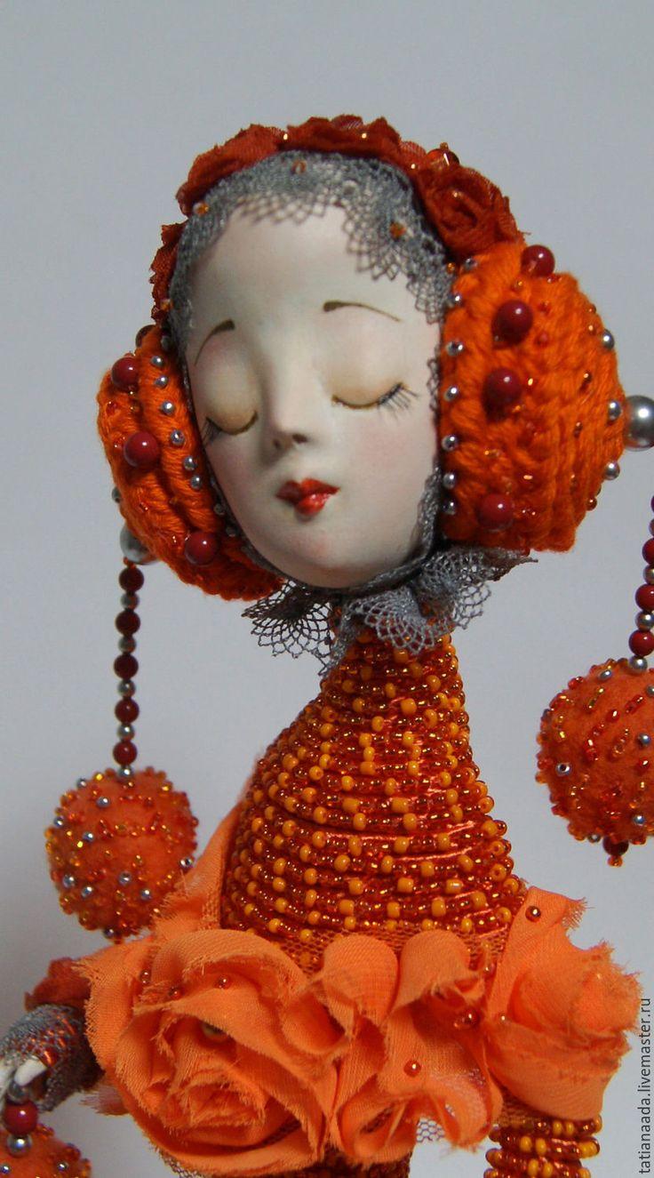 Купить Апельсиновая Птичка - рыжий, оранжевый, апельсиновый, кукла ручной работы, небольшая картина