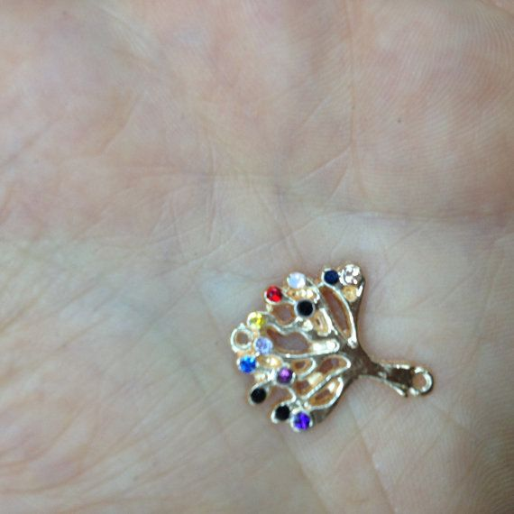 24k Gold Plated Colorful Tree Pendant http://etsy.me/1DGwvt8 #jewelry #mount #brass #jewel #gem #bezel #setting #goldplated #gold #24k