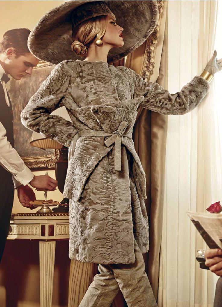 Beige Swakara Lamb Fur Coat and Hat