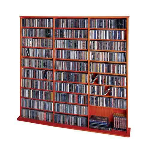 Up To 80% Off 4th Of July Sale. Reduce clutter and organize your entire multimedia collection with this high capacity oak veneer wall rack finished in cherry. The fully adjustable shelves hold's 1500 CD's, 612 DVD's and 360 VHS.