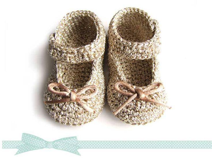 Cómo hacer unos patucos de crochet tipo merceditas para Bebé