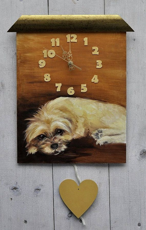 CUSTOM hand painted clock dog portrait with heart by CanisArtStudio #dog #doggy #puppy #petportrait #handpainted #handmade #painted #clock #home #decor #design #walldecor #canisartstudio