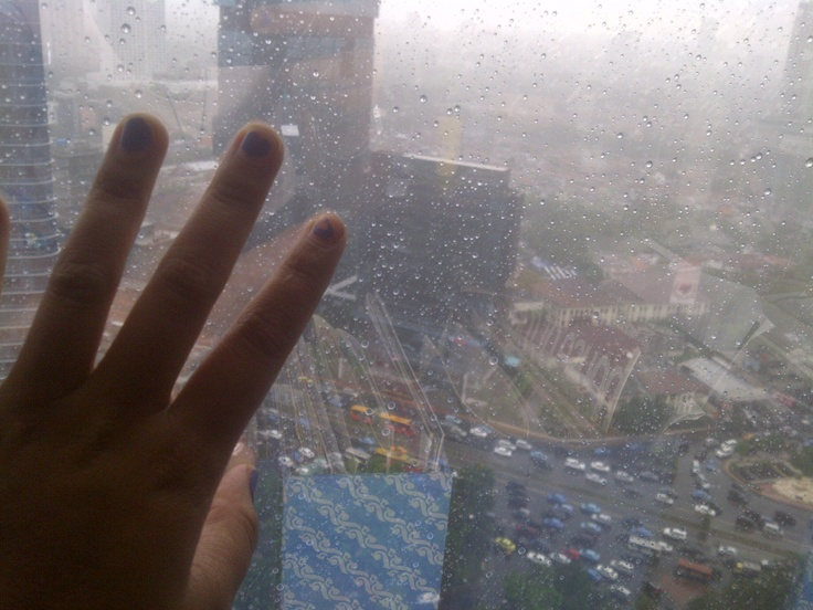 rainy Jakarta view from 25th floor