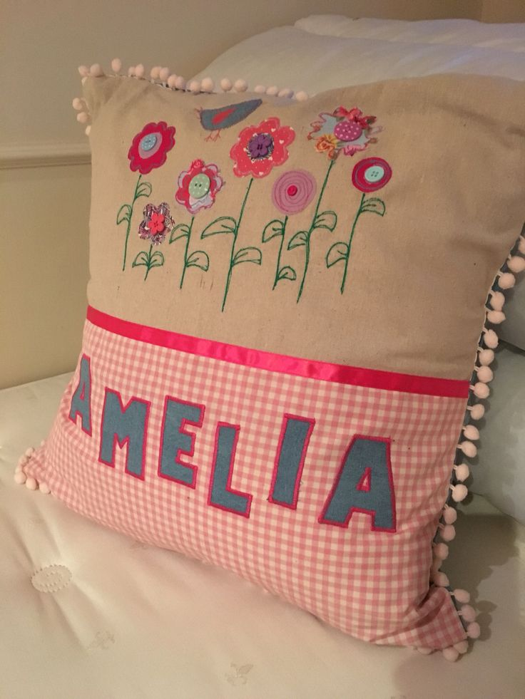 Name cushion, appliqué checks