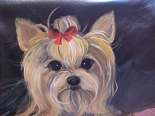 Hand Painted Yorkie.... I know my best friend could do this of Maggie Mae! hint hint