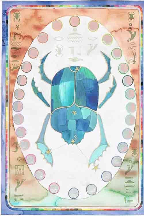 Cancer – An Egyptian Zodiac (From 15e Dynasty revisited)  Datum : 21 juni – 22 juli  Design: Kantaro, mixed media on paper , 42 x 60 cm, 1990 Postkaart  www.postersquare.com