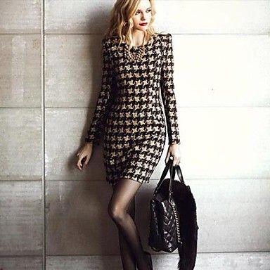manga comprida vestido de inverno impresso mulheres - BRL R$ 88,07