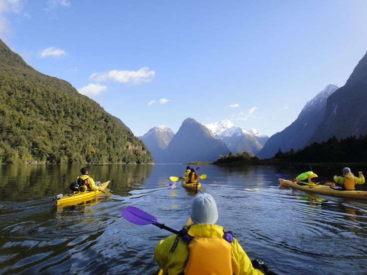 Kayaking Milford Sound on one of our 8 New Zealand trips http://activeadventures.com/new-zealand/trips  #travel #adventuretravel #bucketlist #newzealand #rimutrip #southislandnewzealand