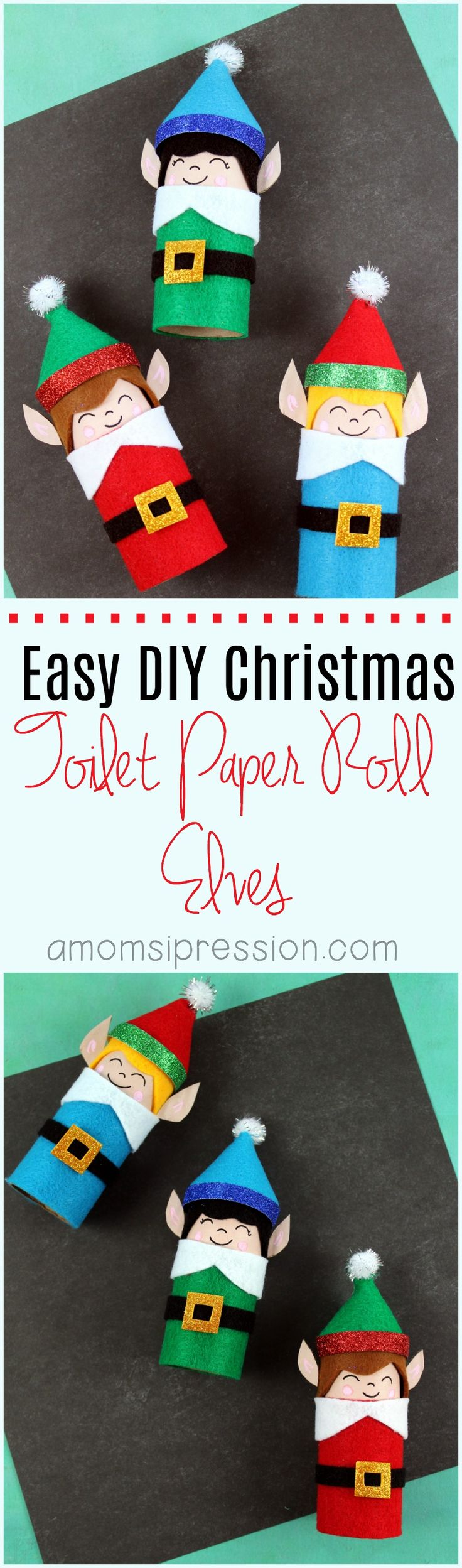 Adorable DIY Christmas toilet paper roll elves are easy crafts that you can make with your kids. They are perfect for gifts for grandparents, or they could easily be turned into ornaments for the tree. #Christmas #Crafts via @kjhodson