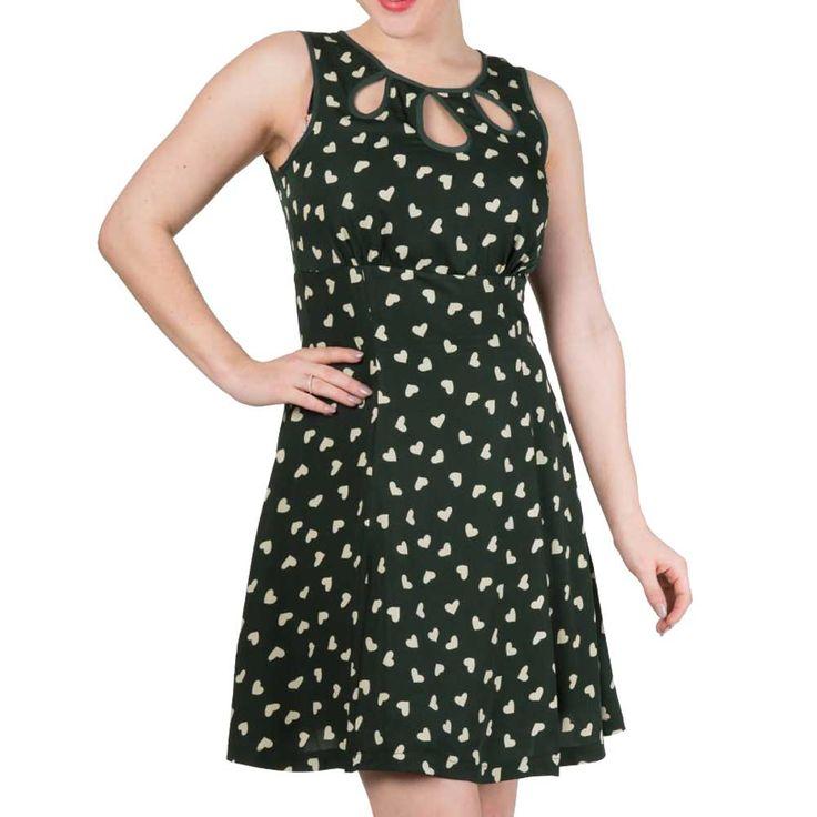 Tell The Story jurk met harten print groen/wit - Vintage Retro Rockabilly