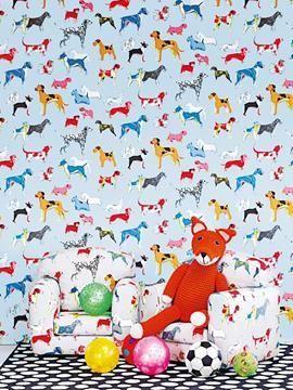 Barntapet med hundar I Jane Churchill I Wallpaper with dogs I Colurful I Dog wallpaper I www.engelskatapetmagasinet.se