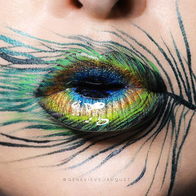 Peacock  Here is my Peacock feather inspired lip art that I did as a fun…