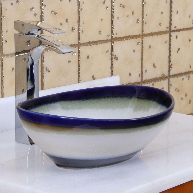 Elite 1555 Oval Multicolor Glaze Porcelain Bathroom Vessel Sink