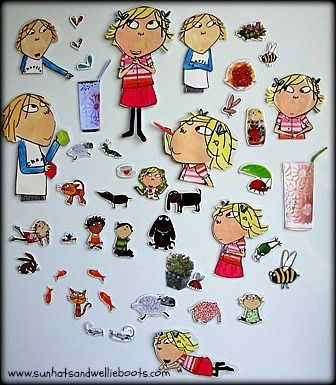 Very cool idea : upcycled story magnets. Turn an old book into magnets and leave on a magnetic surface for the kids to find.